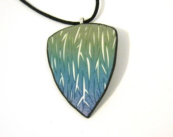 Carved Shield Pendant - Green Blue Purple with White Underlay - Triangle Shape - Black Satin Cord Necklace - Polymer Clay - One of a Kind