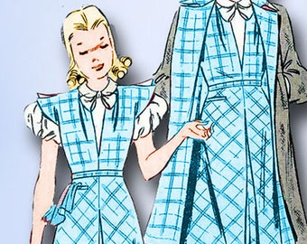 1930s Vintage Butterick Sewing Pattern 8057 Uncut Girls Dress and Coat Size 10