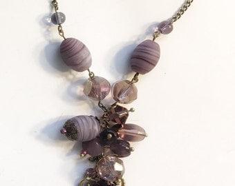 Purple charm necklace