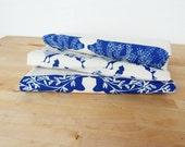 Tea Towel, Hand Printed, Blue Farm Prints, 3 Natural Cotton Towels