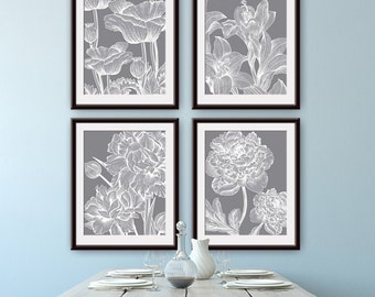 Glamour Garden Botanicals (Series B) - Set of 4- Art Prints (Featured in Dolphin Grey) Botanical Plant Sketch Art Print