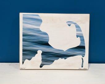 Cape Cod Map, Ocean Blue, Seascape, Water, 8x10, Seascape, Wall Art