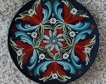"Norwegian Rosemaling, 10 "" Wooden Plate, Hand Painted, Traditional Telemark Style, Scandinavian, Swedish, Dutch, Wedding Gift, Wall Hanging"