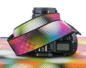 dslr Camera Strap, Mod, Psychedelic, Good Vibrations, Pointillism, Rainbow, 163