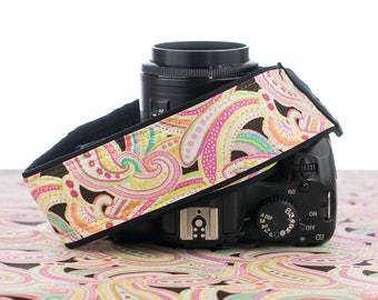 dSLR Camera Strap, Light Pink Paisley, SLR, 042