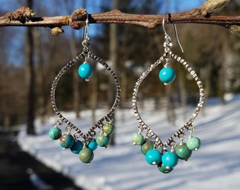 Beautiful Turquoise Chandelier Earrings ~ Sterling Silver Natural Turquoise Boho Style