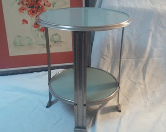 TABLE Unique Vintage Modern 2 Tier Industrial Metal Table Chrome Vintage Retro Poppy Cottage Vintage Furniture