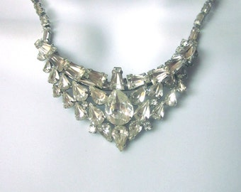 Vintage Rhinestone Necklace Formal Wedding Prom Jewelry