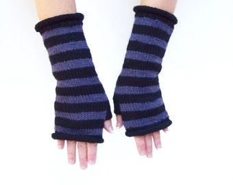 Knit arm warmers black purple striped fingerless gloves gift for her womans gloves