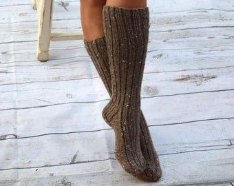 Below the knee socks rustic style womens socks hand knit leg warmers handmade long socks winter socks knee high socks Christmas gift for her