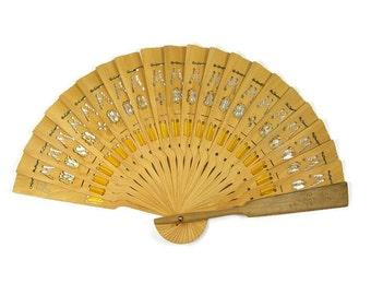 Wooden Folding Fan  Vacation Souvenir from Nusa Bua Beach Hotel in Bali Engraved Wood Fan Yellow Ribbon