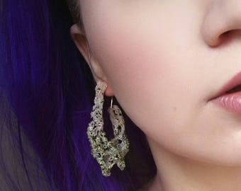DRIZZLE - earrings, pale nude with black and yellow statement earrings, handmade one of a kind statement jewelry