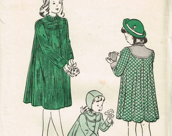 40s Girls Coat Pattern Butterick 4568 Swing Coat Pattern Flare Back Coat Lovely Girls Coat Uncut Vintage 1940s Sewing Pattern