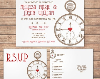 Pocketwatch Invitation Steampunk Wedding Party Special Event Flat Offbeat New Years Time Clock Heart Valentines