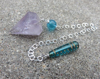 Small Amethyst and Vintage Czech glass bead pendulum with a Sterling chain