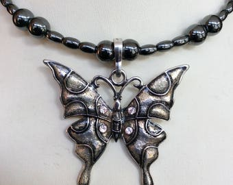Butterfly Hand Beaded Magnetic Hematite Memory Wire Necklace