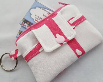 Zipper Wallet Pouch Key Chain Card holder - White with Pink Giraffes