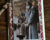 SPECIAL PRICE Vintage Santa and Child Handmade Christmas Card