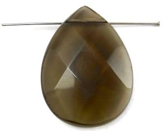 Vintage Glass Teardrop Pendant Large Smoky Quartz Glass Bead Drops  B-263