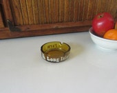Vintage Zebra Long Island Game Farm , Long Island, NY Amber Glass Ashtray – Round Amber Souvenir Ashtray