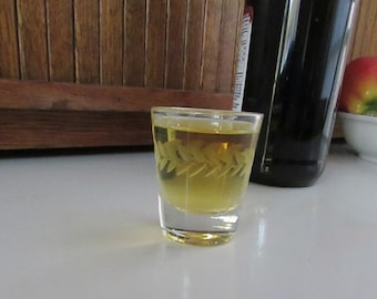 Plain Clear Shot Glass with Band of Laurel – Cut Glass Band of Laurel Jigger - Vintage Barware