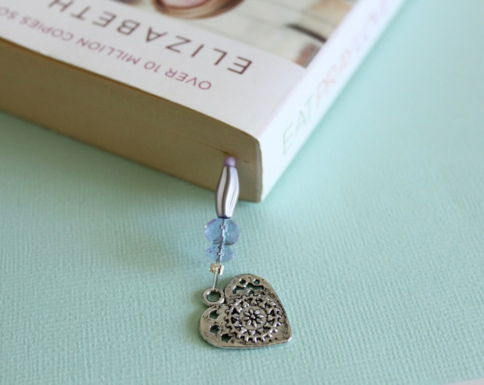 Lavender Heart Beaded Bookmark/Book Thong.