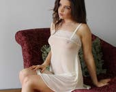 sheer nightgown chemise with lace trim - womens lingerie range - ROMANTIC - made to order