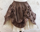Steampunk stretch skirt clothing horizontal striped brown off white pirate explorer burlesque tribal saloon