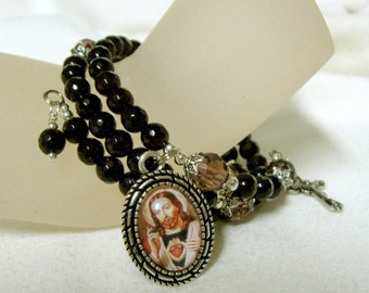 Wine agate and firepolished glass rosary wrap bracelet with The Sacred Heartof Christ medal - WB01-444