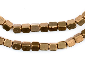 Brass African Trade Beads - 4mm x 3mm Cube, 80 Beads (MET-CUB-BRS-114)