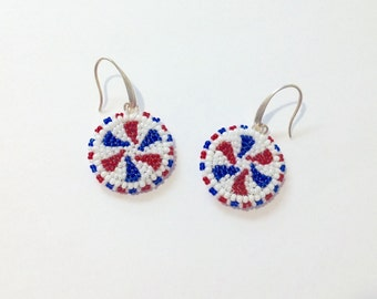 Holiday earrings  July 4th in red white and blue