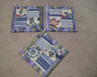 Painted Flowers in Lavendar or Turquoise  Kitchen Potholder Set