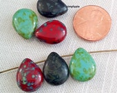 Red Turquoise Jet Picasso Mix Pear Drops Czech Beads 16mm 6 Glass Teardrops