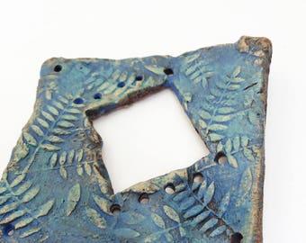Pottery for Weaving Window rectangular loom style, Ferns