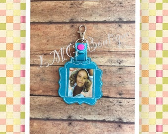 Photo Key chain, Photo Fob Embroidered Snap Tab,  Photo Key Fob, Embroidered Snap Tab, Mothers Day gift