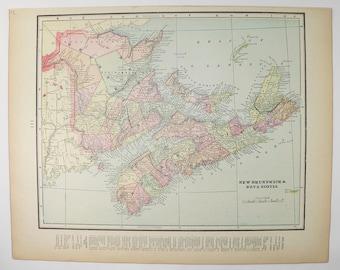 Maritime Canada Map 1899 Vintage Map Nova Scotia, New Brunswick Map, Prince Edward Island PEI Map, Cape Breton Island, Antique Map Canada
