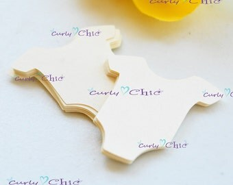 """100 Baby Bodysuit Tags Size 1.50"""" -Baby Bodysuits tags -Paper Baby shirt die cuts -Cardstock Baby shower die cuts -Custom Bodysuit labels"""