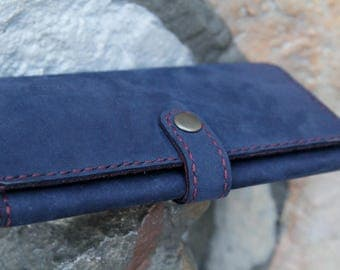 Womens leather wallet- Blue and burgundy