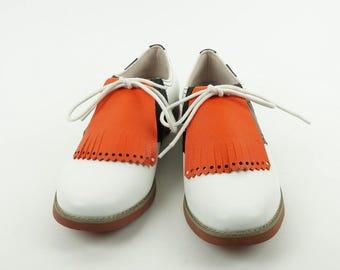 Orange Golf Shoe Kilties, Golf Shoes for Women, Orange Kiltie, Shoe Tongue, 1950s Fashion, Golf Gifts, Swing Dance Shoe Decoration,