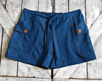 Womens Denim Chambray Shorts- Teen Girl Shorts- Summer Shorts- Drawstring Shorts- Sizes XXS XS S M L XL