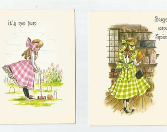 Vintage Greeting Card Plaids n bows Get Well Congratulations Thank You Girl In Plaid Dress Hallmark Heartland Classic