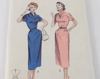 Vintage 1940's Dress Sewing Pattern Butterick 6803 Slim Tailored Yoked Bodice Bust 34 Waist 28 Hips 37