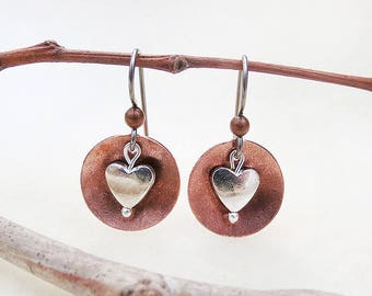 Dangle Earrings of Copper Discs and Silver Hearts, Hypoallergenic Niobium Earwires, Small, Forged Metalwork, Mixed Metal, Handmade Jewelry