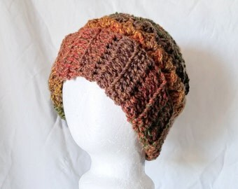 Slouchy winter hat Orange brown green hat Crochet chunky cloche Acrylic Warm beanie  Winter accessories Striped toque Grunge fashion Gift