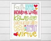 Young Women Values Subway Art, Young Women Theme Art, Printable Instant Download