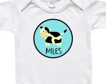 Personalized Baby Bodysuit - Toddler Shirt Tshirt - Baby Shower Birthday Gift - Cow Farm