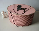 Vintage 1950s pink wicker poodle sewing basket Poodle sewing box
