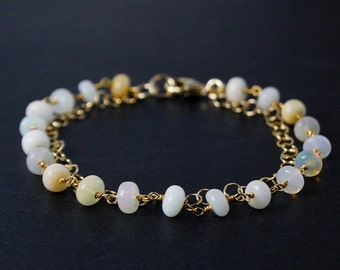 CHRISTMAS SALE White Opal Bracelet – Opal Beads – 14K Gold Filled Chain