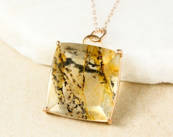 Cushion Cut Clear and Yellow Dendrite Quartz Necklace - Dendritic Quartz Pendant