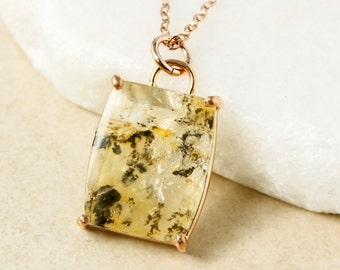 Champagne Yellow Dendrite Quartz Necklace - Nature Inspired Jewelry